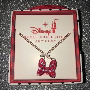 New Disney Parks Minnie Mouse diamond bow necklace